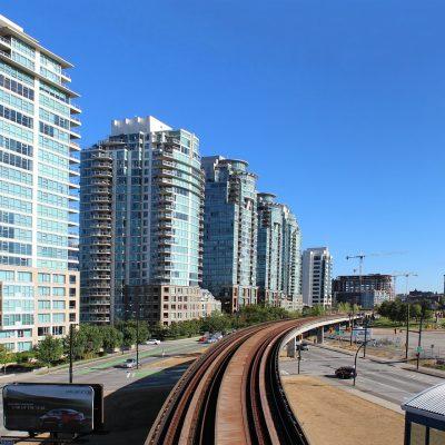 Vancouver condos above SkyTrain track